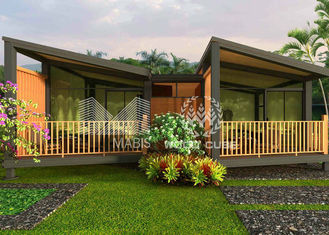 Duplex Luxury Prefabricated Homes , Wooden Appearance Low Cost Prefab Houses