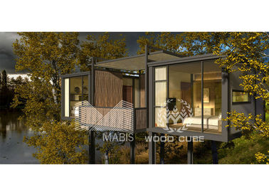 2 Bedroom Prefab Garden House , Thermal Insulation Prefab Log Cabin Homes